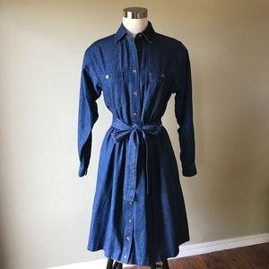 Vintage Denim Button Down Full Skirt Midi Dress